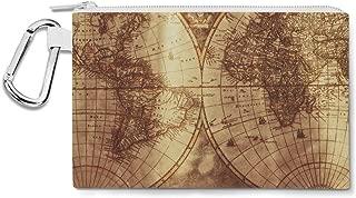 Antique Map Globe Canvas Zip Pouch - Multi Purpose Pencil Case Bag