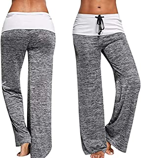 CROSS1946 Fashion Women s Elastic High Waist Yoga Drawstring Pants Straight Leg Workout Trousers Loose Fit Grey Medium