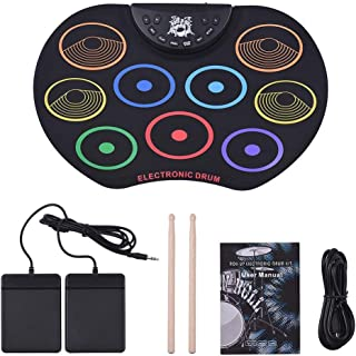ポータブルプロフェッショ折りたたみ電子ドラム コンパクトサイズ電子ドラムセットロールアップ練習MIDIドラムキット(9個のシリコンパッド付き) ヘッドフォンジャックスピーカーなしペダルドラムスティック録音再生機能ギフト子供のための ドラムサウンドはあなたに自然で強力なサウンドを与えます。 標準的なドラム設定とワイドペダル (色 : ブラック, サイズ : Free size)