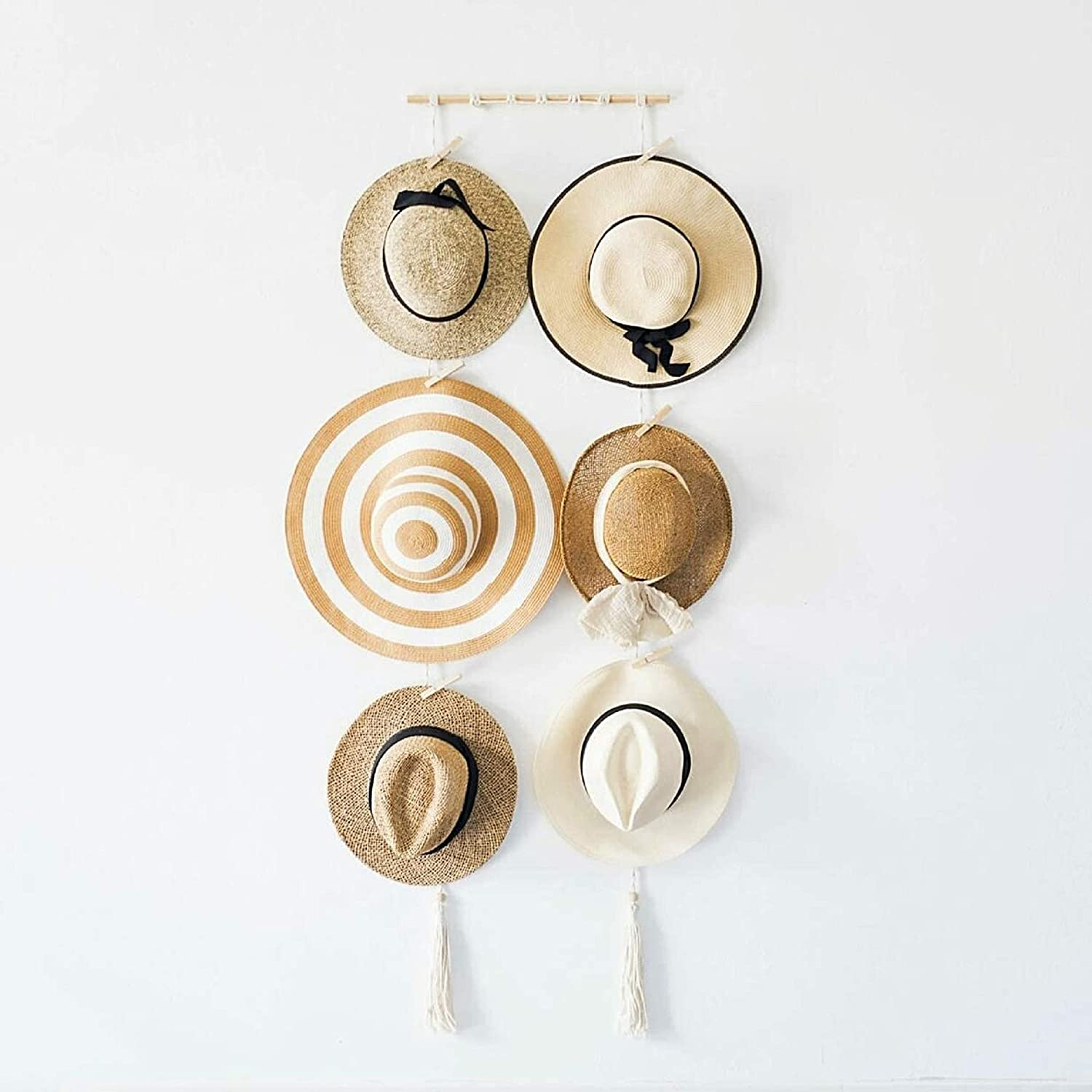Wooden Hat Organizer With 6 Clips H Columbus Mall Cheap mail order specialty store Boho Wall Rack Hanging