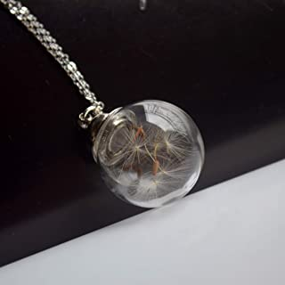 Dandelion Make a Wish Real Flower Openable Screw Cap 20mm Glass Ball Pendant 925 Sterling Silver Chain Necklace
