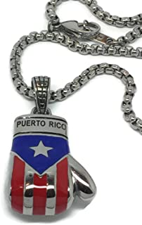 Puerto Rican Flag Boxing Glove Pendant with 24