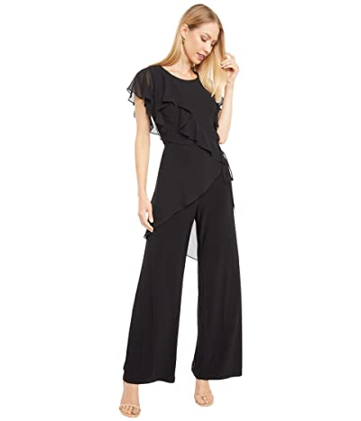 Adrianna Papell Ruffled Chiffon and Jersey Jumpsuit (Black) Women