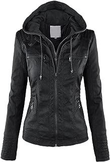 chouyatou Women's Retro Perfect Shaping Faux Leather Biker Jacket Removable Hood