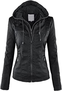 chouyatou Women's Retro Perfect Shaping Faux Leather Biker Jacket Removable Hood