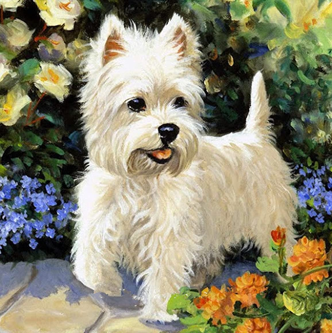 OneHippo 5D Drilled Resin Diamond Painting Needlework Diy Diamond Painting Cross Stitch Diamond Craft Dog (40x40)CM