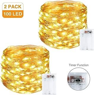 Litogo Guirnalda Luces Pilas, Luces LED Pilas [2 Pack], LED luces decorativas habitacion 10m 100 LED Luces de Cadena Micro con Función de Temporizador para Decoración Interior Bodas Fiesta de Navidad