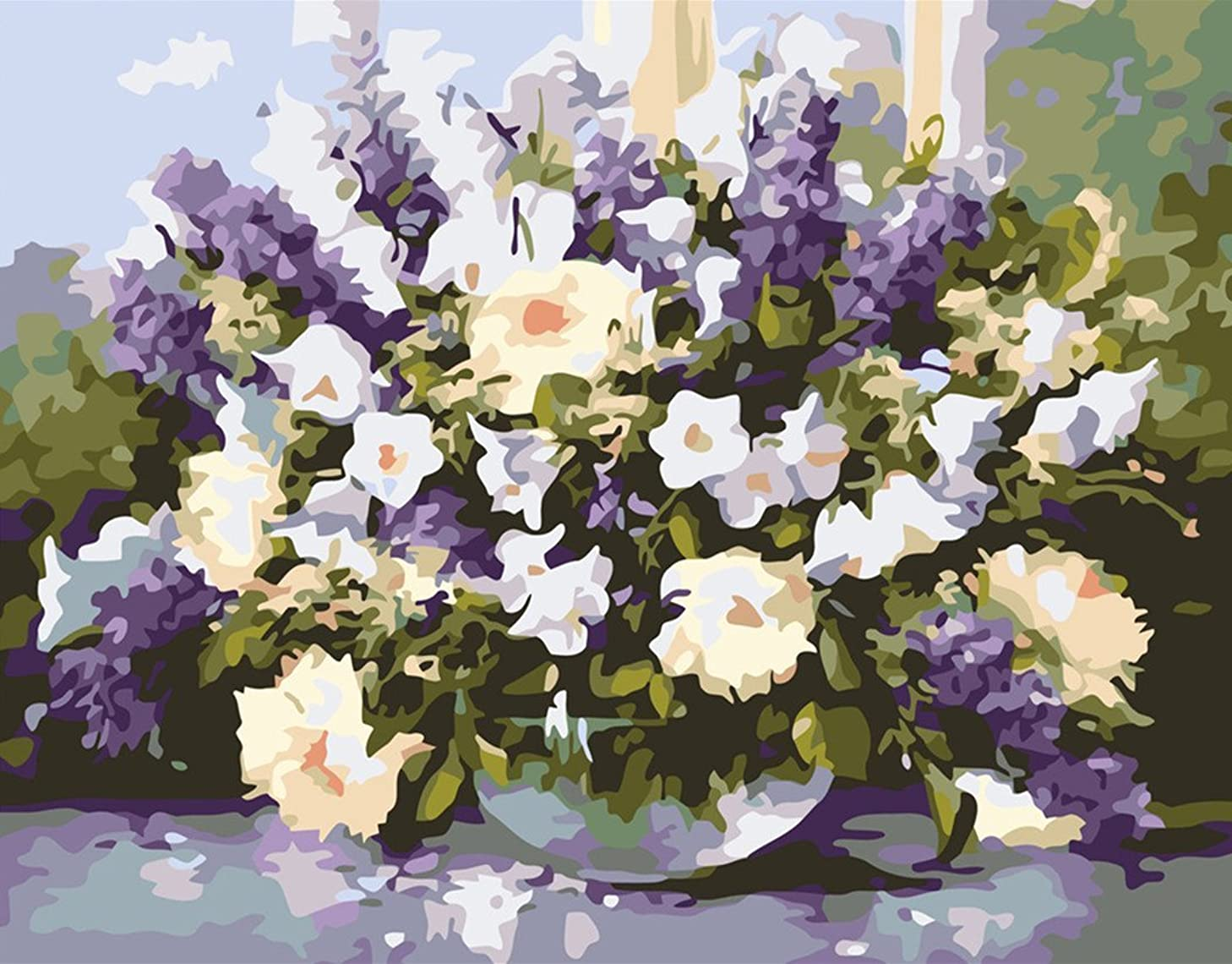 CaptainCrafts New Paint by Number Kits - Purple Vase Flowers 16x20 inch Frameless - Diy Painting by Numbers for Adults Beginner Kids