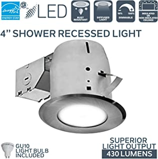 Nadair GU378L-FROBN Interior/Exterior Shower Recessed Lighting Kit Dimmable LED Downlight Bathroom Spotlights, GU10 550 Lumens Bulbs (50 Watts Equivalent) Included, 1 Pack, Brushed Nickel