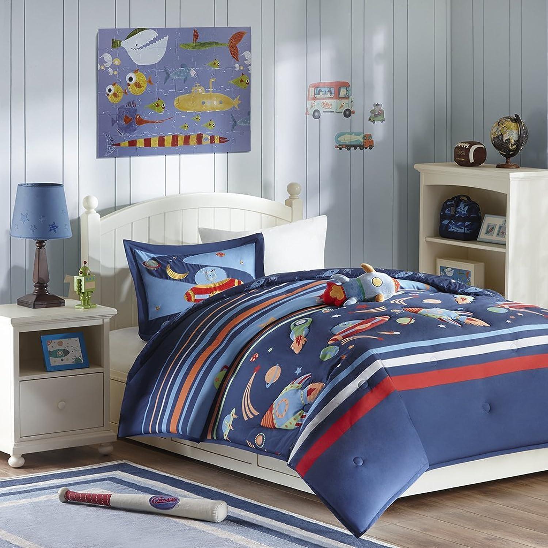 Mizone Kids Space Cadet 4 Piece Comforter Set, bluee, Full Queen