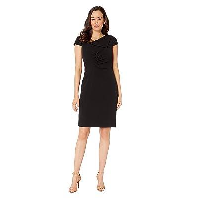 Tahari by ASL Fold-Over Collar Crepe Short Sleeve Crepe Dress (Black) Women