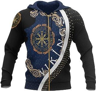 Viking Tattoo Hoodie Compass Runes 3D Printed Mens Zip Hoodie Unisex Harajuku Casual Chándales