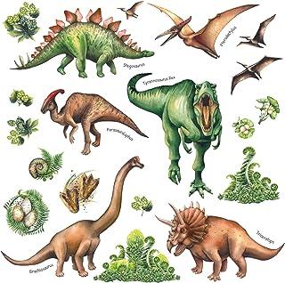 DECOWALL DS-8034 Aquarelle Dinosaure (Ver anglais) (Petit) Autocollants Muraux Mural Stickers Chambre Enfants Garderie Sal...
