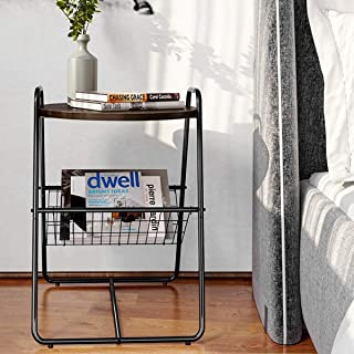 Homemaxs Side Table Round End Table with Metal Storage Basket for Living Room, Bedroom, Walnut/Black, 17.7 × 17.7 × 26.4 in