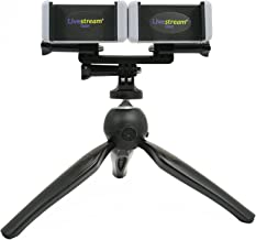 Livestream Gear - Dual Device Heavy Duty Tripod Setup for Live Stream, YouTube, Video Recording, Vlogging, Etc. Easily Mount 2 Devices at The Same Time. (Black & White)