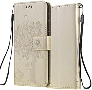 C-Super Mall Case for Xiaomi Mi 10 Lite 5G/Xiaomi Mi 10 Youth 5G, Embossed Tree Cat Butterfly Pattern Stand Flip Magnetic ...