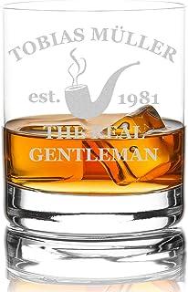 polar-effekt Whiskyglas Personalisiert 320 ml Trink-Glas für Whiskey, Rum und Scotch - Geschenk-Idee für Männer - Motiv-Gravur Real Gentleman Pfeife