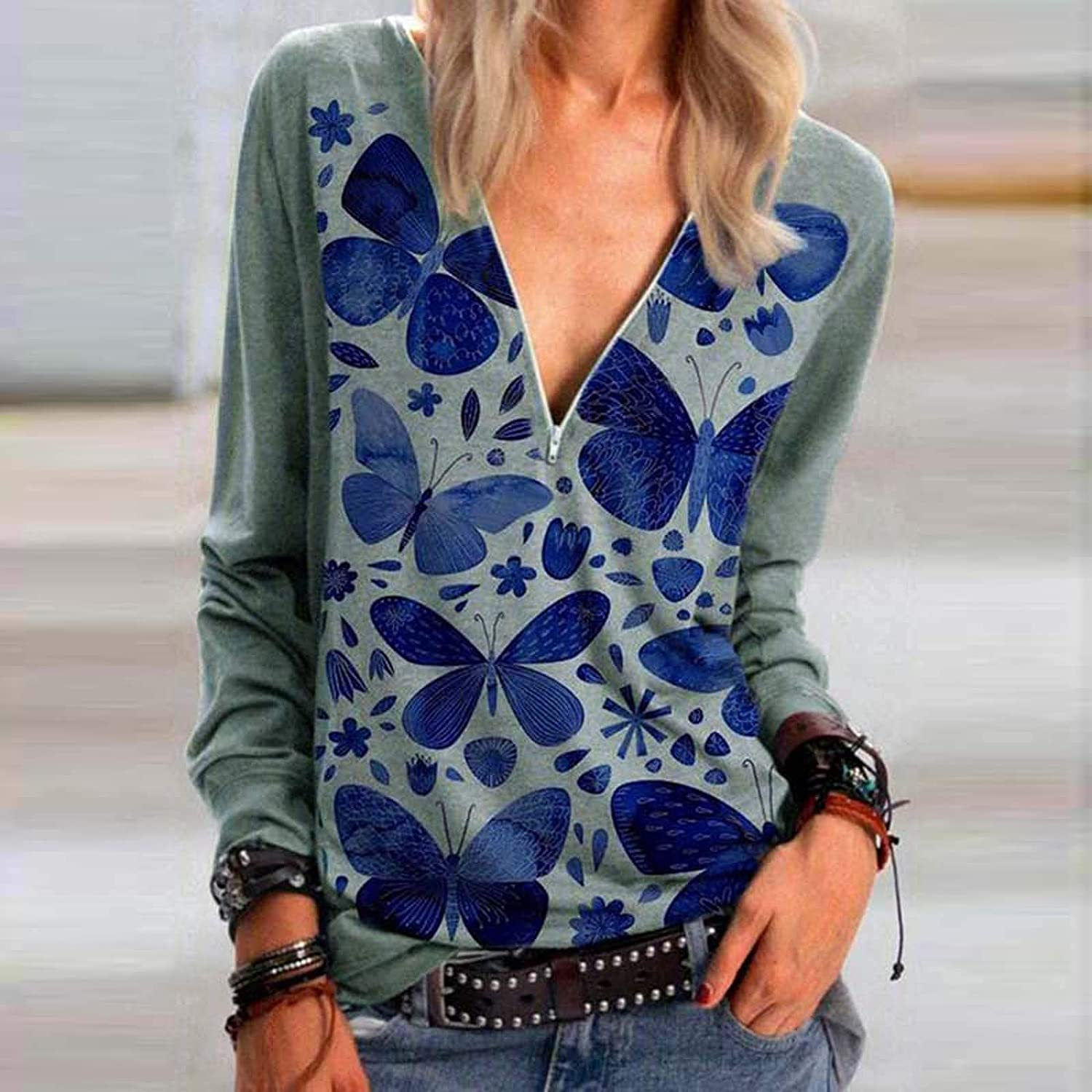 YSLMNOR Womens Zipper Shirts Fashion Printed Blouses Long Sleeve Casual Tunic Top Plus Size Pullover