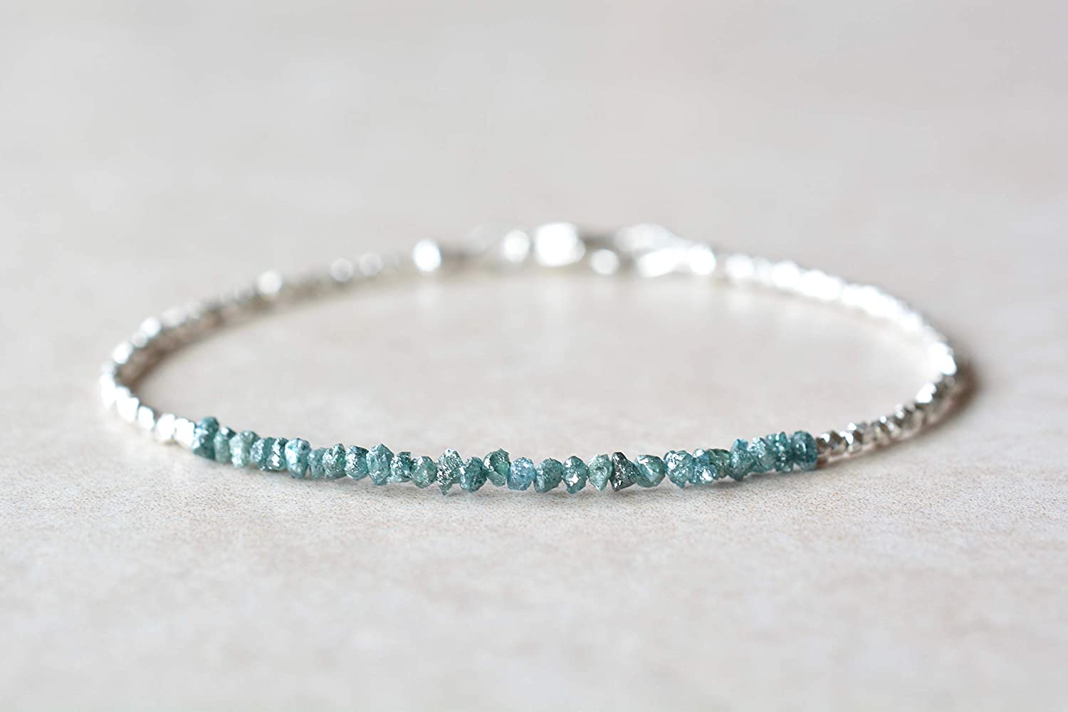 Natural Raw Blue Diamond and Max 60% OFF Dainty Silver Beaded Mail order cheap Bracelet