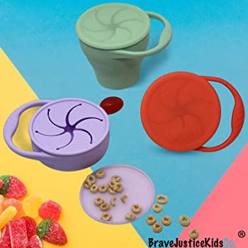 BraveJusticeKidsCo | Snack Attack Snack Cup | Collapsible Silicone Snack Container | Toddler and Baby Snack Catcher L...