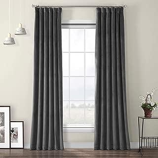 HPD Half Price Drapes VPYC-198595-108 Heritage Plush Velvet Curtain, 50 X 108, Pepper Grey