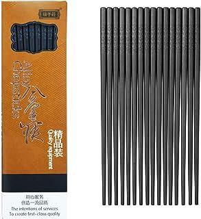 10-Pairs Fiberglass Chopsticks - Reusable Chopsticks Dishwasher Safe, 9 1/2 Inches By JSDOIN (Fiberglass Chopsticks) (Classic Black)