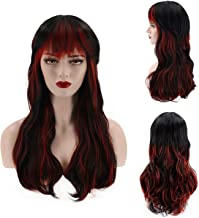 NiceLisa Loose Wavy Long Black Mixed Red Vampire Witch Heat Resistant Cosplay Daily Wear Synthetic Hair Wigs for Women Pelucas