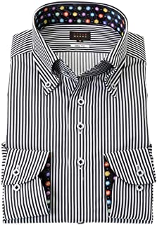 STYLE WORKS (スタイルワークス) ドレスシャツ ワイシャツ カッターシャツ シャツ 派手シャツ 柄シャツ 長袖 表綿 ポリエステルエステル 別生綿 ボタンダウン RWD118-251-0105-L