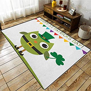 Skid-Resistant Rug,St. Patricks Day,Owl with Leprechaun Costume Greeting Design for Party Shamrock Pattern,Ideal Gift for Children,5'10