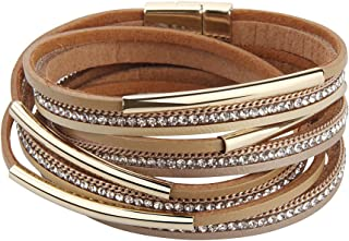 TASBERN Women Leather Wrap Bracelet in Goldplated Metallic Crescents and Crystal Cuff Jewelry for Ladies Girls Christmas Gift