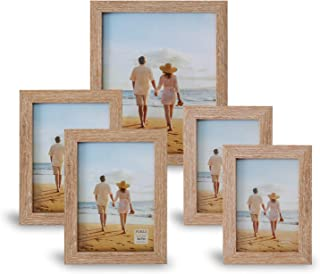 Picture Frames Set For Wall Gallery or Tabletop Display, Wood Photo Frames Collage Set Of 5, One 8x10 in, Two 5x7 in,Two 4...