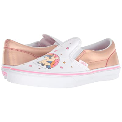 Vans Kids Classic Slip-On (Little Kid/Big Kid) ((Unicorn Rainbow) Pink Lemonade/True White) Girls Shoes