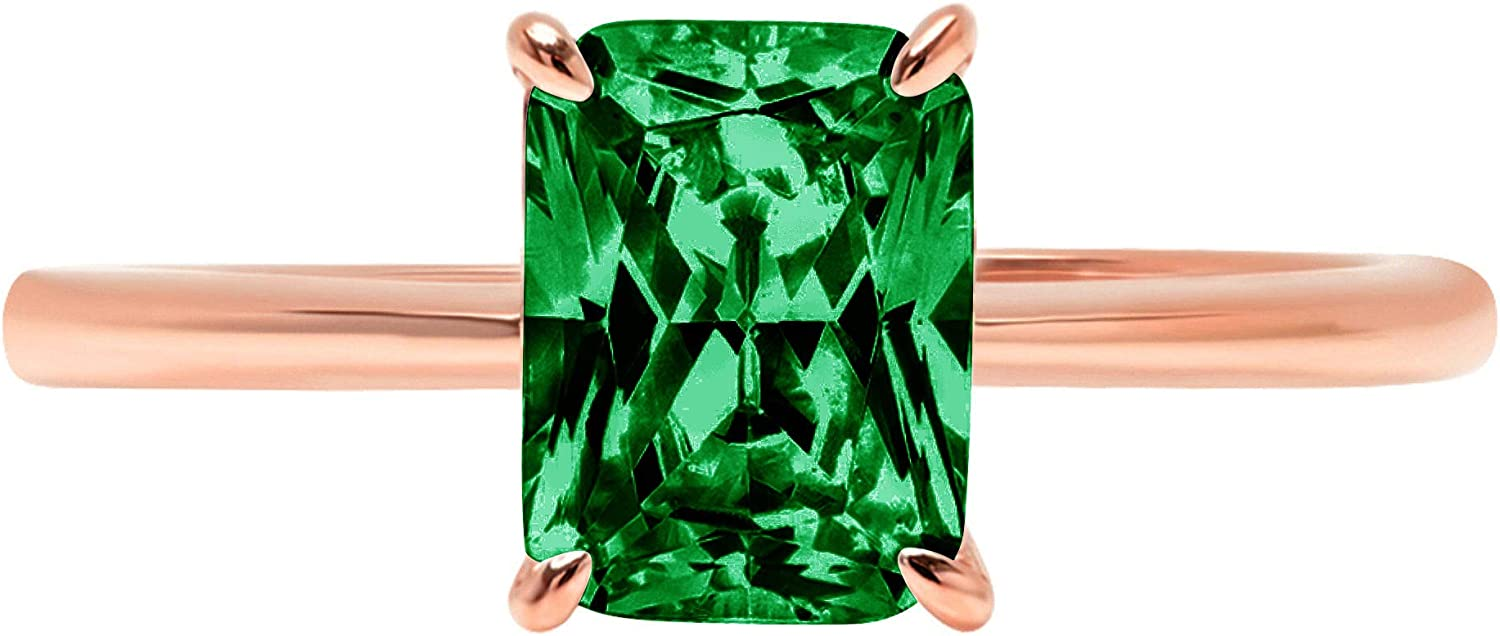 0.9ct Brilliant Radiant Cut Solitaire Flawless Simulated Cubic Zirconia Green Emerald Ideal VVS1 4-Prong Engagement Wedding Bridal Promise Anniversary Designer Ring Solid 14k Rose Gold for Women