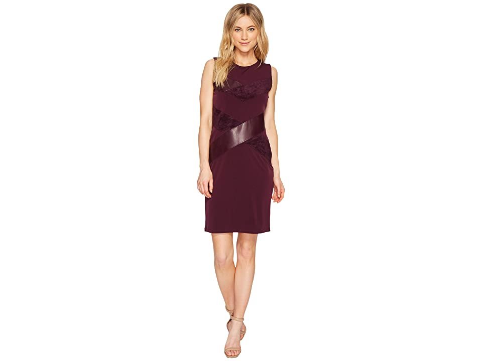 Calvin Klein Sleeveless Faux Leather and Suede Mix Dress (Aubergine) Women