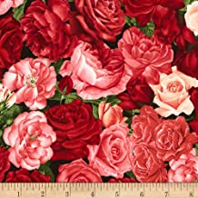 Timeless Treasures Rose Garden Packed Roses Rose Fabric by The Yard