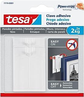 tesa 77776-00001-00 77776-00001-00-Smart Mounting System Removíbles SMS Clavo Adhesivo hasta 2Kg Pared Pintada, Not_applicable, Set de 2 Piezas