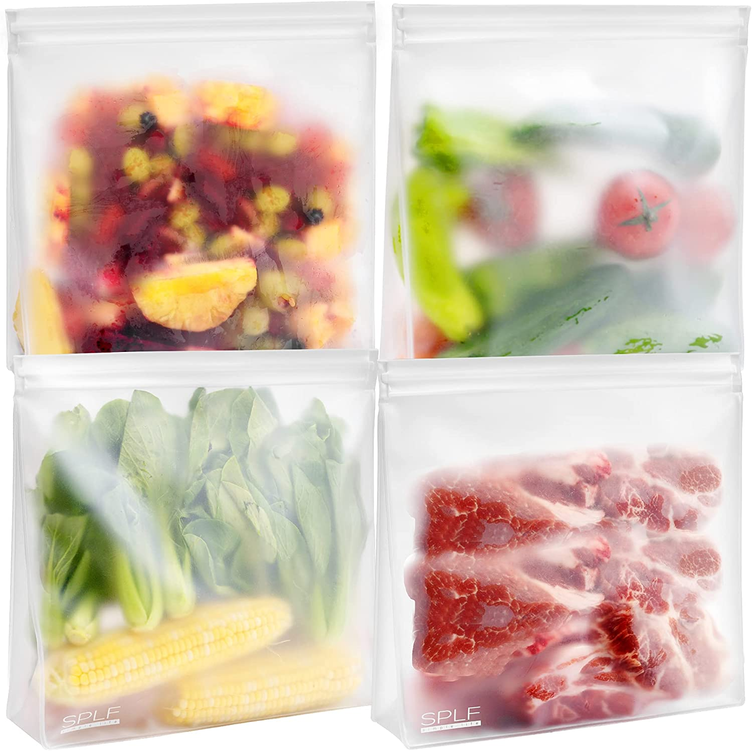 SPLF 4 Pack Dishwasher Safe Stand Up Reusable Gallon Freezer Bags, Extra Thick Reusable Food Storage Bags Leakproof Silicone and Plastic Free Zipper Sandwich Snack Lunch bags Containers