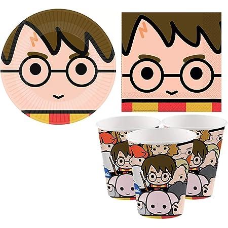 ILS I LOVE SHOPPING Kit Festa Coordinato Tavola Addobbi Party Set Compleanno con 8 Piatti 23cm, 8 Bicchieri 250ml e 16 Tovaglioli 33cm(Harry Potter, Set 8 Persone)
