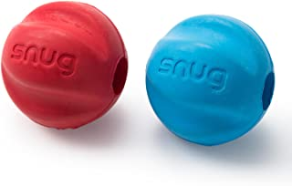 Snug Solid Rubber Dog Balls - Wave Shaped Chew Toy - Tennis Ball Size - Virtually Indestructible (2 Pack)