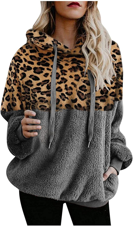 Fashion Hoodies for Women Fleece Furry Womens Hooded Sweatshirt Hoodie Leopard Patchwork Pullover Sherpa Sweater Winter