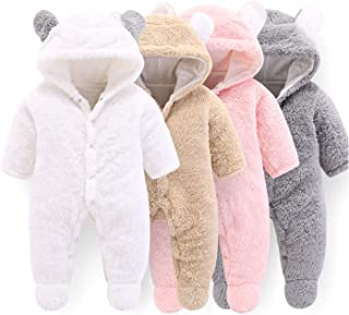 VNVNE Newborn Baby Cartoon Bear Snowsuit Warm Fleece Hooded Romper Jumpsuit