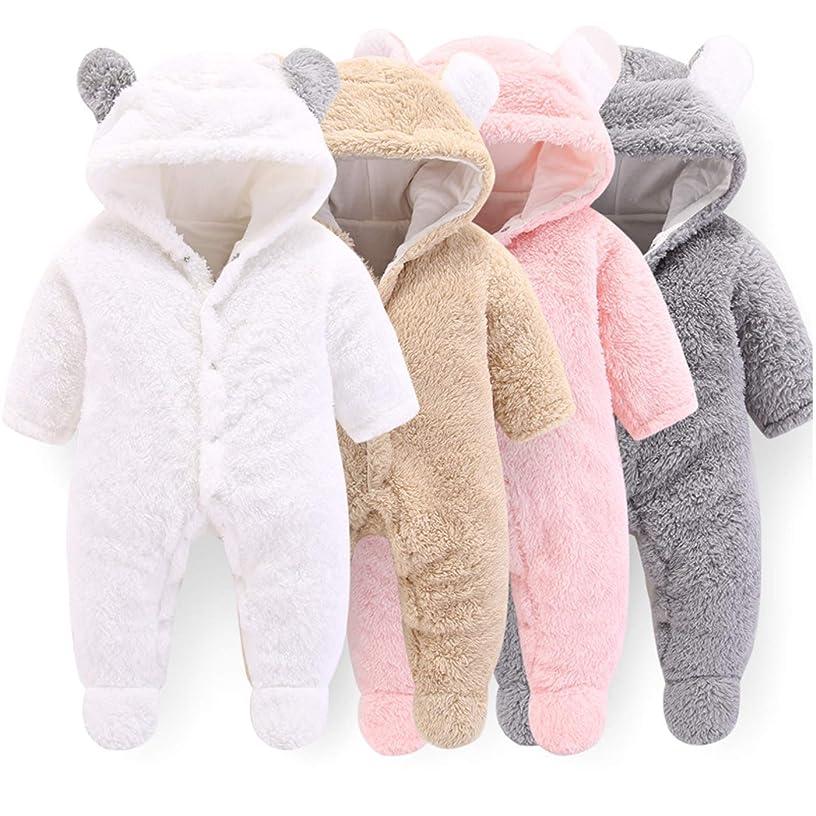 VNVNE Newborn Baby Cartoon Bear Snowsuit Warm Fleece Hooded Romper Jumpsuit