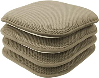 GoodGram 4 Pack Non Slip Ultra Soft Chenille Honeycomb Premium Comfort Memory Foam Chair Pads/Cushions - Assorted Colors (Taupe)