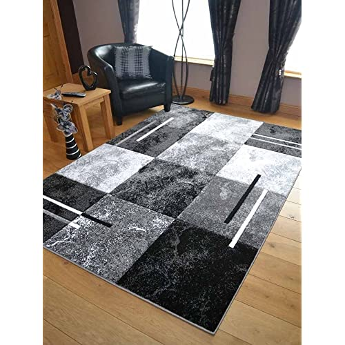 Modern Small Extra Large Sahara Silver Grey Black Marble Quality Thick Floor Long Carpet Runner Rugs