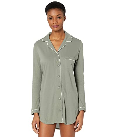 Only Hearts Organic Cotton Piped Front Night Shirt (Olive/White) Women