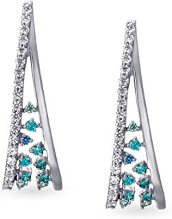 Mia by Tanishq 14KT White Gold and Cubic Zirconia Hoop Earring for Women