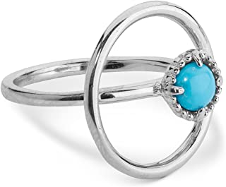 Carolyn Pollack Sterling Silver Sleeping Beauty Turquoise Gemstone Orbit Ring Size 5 to 10
