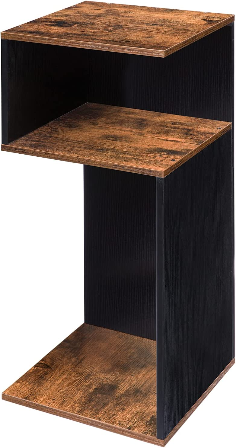 HOOBRO Telephone Table, 27.5 Inches, S-Shaped Tall Nightstand, Industrial Side Table for Small Space in Office Hallway or Living Room, Wood Look Accent Furniture, Rustic Brown + Black BF30BZ01