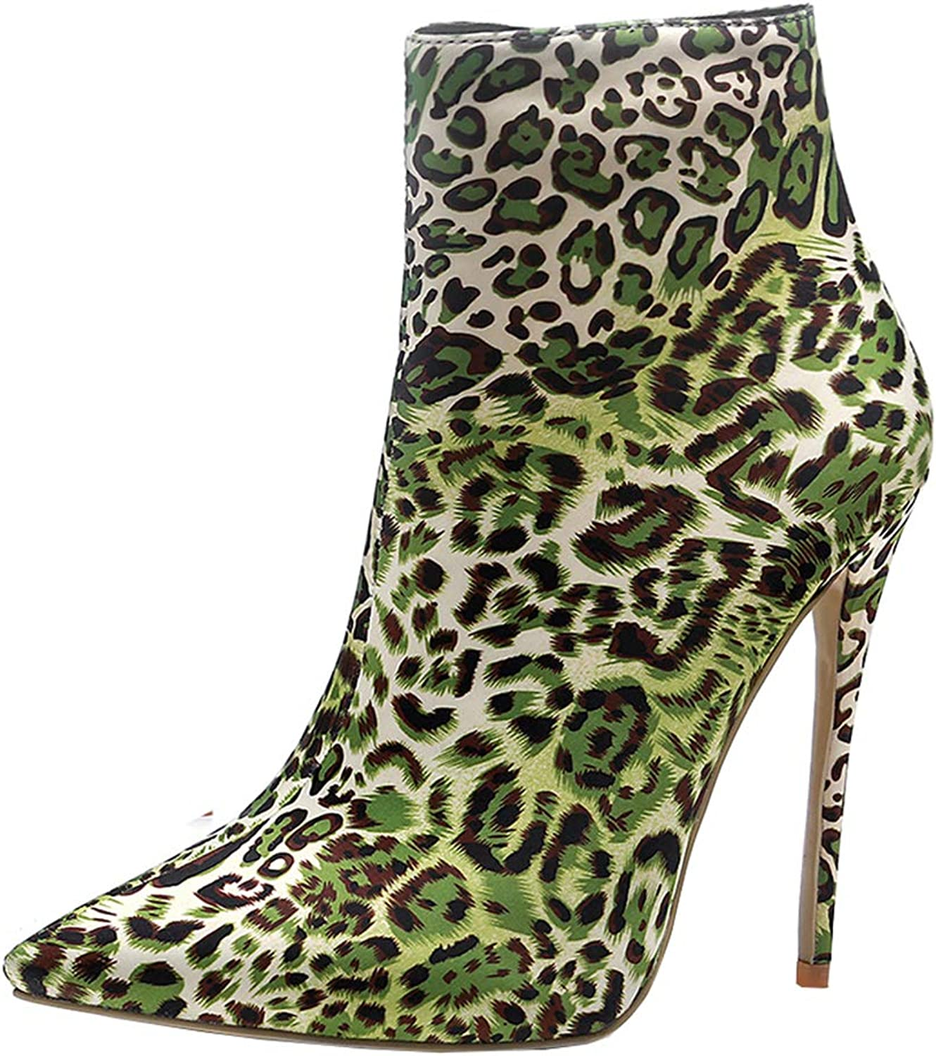 Kikiva Womens High Heel Leopard Ankle Boots Pointed Toe Stiletto Short Booties