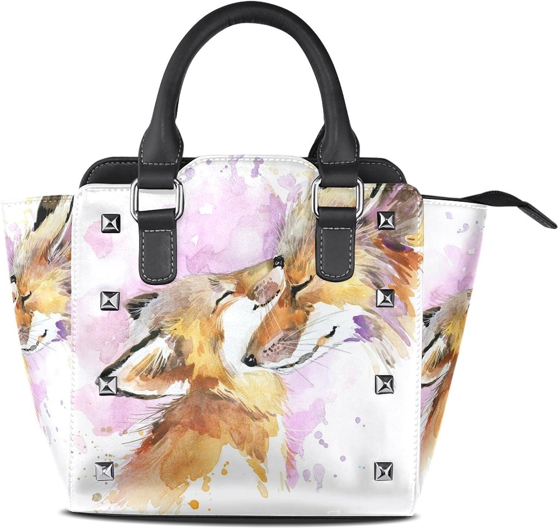My Little Nest Women's Top Handle Satchel Handbag Fox Mother and Baby Ladies PU Leather Shoulder Bag Crossbody Bag